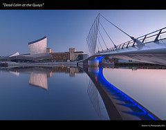 """""""Dead Calm at the Quays"""" (awhyu) Tags: city bridge reflection museum media war cityscape bbc imperial salford quays"""