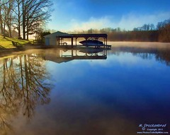 Morning reflections on Lake Anna VA (PhotosToArtByMike) Tags: morning lake fog landscape virginia boat foggy scenic va lakeanna waterreflection docking boatdock boatslip landscapephotograph lakeannavirginia
