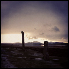 Brodgar Stones (Olly Denton) Tags: uk winter light mountain snow cold history ice hail stone clouds scotland december earlymorning freeze archeology iphone sleet orkneyislands instagram brodgarstones