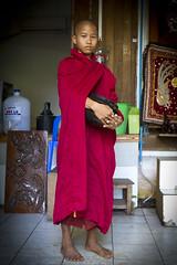 Young monk at Yangon - Myanmar (Burma) (Steven Goethals) Tags: travel portrait people face yangon burma buddhist decoration culture monk buddhism peoples explore human monks jar myanmar ethnic birma begging visage budhist rangoon ethnology budhism birmanie ethnique goethals stevengoethals
