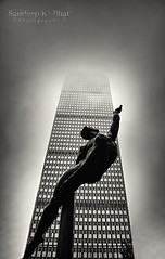 Rising to the Heavens (Sandeep K Bhat) Tags: sky blackandwhite mist tower statue boston fog skyscraper nikon cloudy oldphotograph hdr skywalk prudentialtower d90