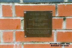 2001: Plaque on the Golden Lion statue, Canal Walk, Swindon (Local Studies, Swindon Central Library) Tags: 2001 colour plaque swindon lion photograph publicart wiltshire towncentre 2000s goldenlion canalwalk carletonattwood swindonart