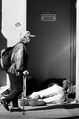 Double bunking (Russ Beinder) Tags: street bw canada vancouver blackwhite bc candid homeless emergencyexit hastingsst deltahotel 70200mmf28