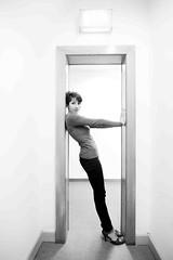 posing inside a frame (POSITiv) Tags: bw berlin person frame sw exit modell positiv beautishots falshdance