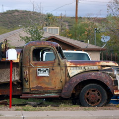 DIY starter truck (kevin dooley) Tags: road old arizona car mailbox truck canon diy rust automobile forsale purple starter rusty first sigma superior az explore roadside 70300mm retired doityourself patina rustytruck inoperable outofcommission 40d