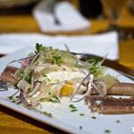 bites: poached egg on smoked eel