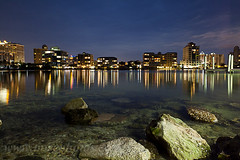 Sarasota Nights (Matt Currier Photography) Tags: ocean city sky reflection water night clouds canon buildings rocks florida 5d sarasota fl 24l