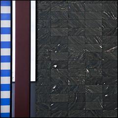 Dazzling patterns (Maerten Prins) Tags: blue white green lines wall germany hotel stripes patterns tiles pillars dsseldorf medienhafen dazzledorf