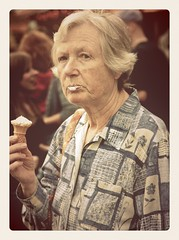 Ice Cream Lady (Steve Counsell) Tags: ice cone cream photographic lips retro website gloucester henley goldenhour analogapp henleyphotographicclub