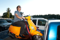 orange canada man sunglasses vespa britishcolumbia scooter pickuptruck northvancouver