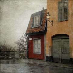 The Little Red House (Milla's Place) Tags: street old city windows house mist building fog doors sweden stockholm södermalm textures lantern textured idream nytorgsgatan distressedjewell magicunicornverybest magicunicornmasterpiece kerstinfrankart