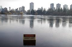 Danger Keep Off (w.d.worden) Tags: ice stanleypark vancouverbc lostlagoon frozenlake dangerkeepout winter2012