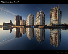 """""""It Just has to be done!"""" (awhyu) Tags: city sisters canon buildings reflections three media nw cityscape bbc l 5d salford quays f28 1635mm mki"""