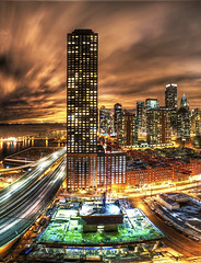 Construction HDR (Christopher.F Photography) Tags: light sky panorama chicago building skyline night clouds construction nikon long exposure downtown cityscape view crane trail hdr hdri streeterville d700 vectorama