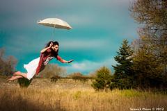Down Populus Lane (Semmick Photo) Tags: sky woman tree girl field umbrella photoshop flying dress floating levitation fantasy lane mysterious elevation brolly populus semmick wwwsemmickphotocom downpopuluslane