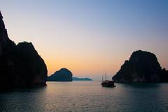 Sunrise at Ha Long Bay (yablinksht) Tags: ocean sea mountains water sunrise junk asia day ship vietnam clear limestone halongbay northernvietnam