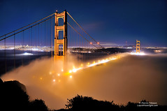 Midnight Fog on the Golden Gate (Darvin Atkeson) Tags: sanfrancisco california bridge fog night suspension foggy goldengatebridge baybridge cruiseship sutro transamerica citybythebay darvin atkeson darv liquidmoonlightcom