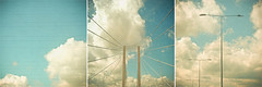 (_cassia_) Tags: bridge blue sky white abstract lines vertical horizontal clouds grey streetlights turquoise stripes dramatic symmetry diagonal telegraphwires lolasroom