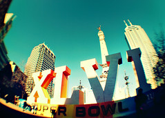 Super Bowl XLVI (SOMETHiNG MONUMENTAL) Tags: city buildings nikon downtown indianapolis crowd indiana fisheye romannumerals 2012 d60 monumentcircle superbowlxlvi somethingmonumental mandycrandell