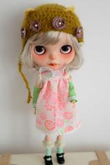 The new Taro~wearing MAMA'S tiny bear helmet and the ET dress