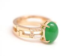 翡翠(ひすい)のリング   Jadeite Ring (jewelrycraft.kokura) Tags: diamond 指輪 リフォーム yellowgold jadeite ダイヤモンド k18 ダイヤ ゆびわ イエローゴールド テーパーダイヤ 18金