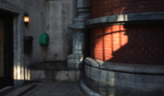 Courtyard at Sunset (Anne Worner) Tags: light sunset texture norway mailbox shadows grain doorway layers bergen ricohgr goldenhour olavkyrresgate ononesoftware anneworner