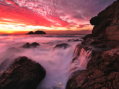 Summer Falls (louie imaging) Tags: ocean sf life camera city sunset sea sky cliff house beach lens evening coast ruins san francisco waves mood moody pacific culture jazz coastal baths sutro local fiery vibe
