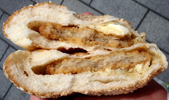 #7993 lunch: chicken fillet in sesame bun (354 kcal) (Nemo's great uncle) Tags: food dinner sandwich sagamihara     kanagawaprefecture