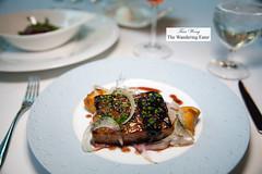 Whey braised pork belly, blueberry preserves, shaved fennel, fried pillow of potato (thewanderingeater) Tags: atlanta dinner georgia buckhead finedining restauranteugene