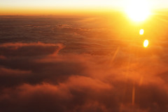 Today (redaleka) Tags: life above new morning travel light red sky orange cloud sun white nature beauty sunshine yellow clouds start plane high day waves ray cloudy fluffy first sunny beginning flare rays sunrays today begin threehundredsixty