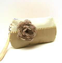Bridal Clutch Wristlet Purse Bag Ivory Cream and Taupe Shimmer with Flower Brooch (LMcreation) Tags: wedding girls flower fashion gold evening women brooch formal cream silk ivory fabric purse gift bridesmaid zipper polyester clutch bags etsy bridal purses taupe wristlet lmcreation