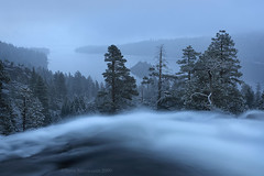 Eagle Falls Emerald Bay Lake Tahoe (Steve Sieren Photography) Tags: california blue trees winter lake snow storm cold cool moody alpine chilly emeraldbay eaglefalls flowingwater
