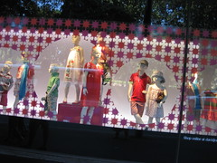 KIDSWEAR (RubyGoes) Tags: city pink blue trees girls red summer sky white reflection window boys floral scarf children stars mannequins pants display caps sydney hats australia clothes shirts nsw shorts elizabethst frocks 2011