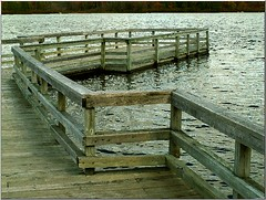Fishing Pier for the Elderly (Walter A. Aue) Tags: autumn lake canada pier fishing novascotia digitallymodified lewislakepark walteraaue