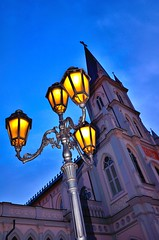 Chijmes: Light up the blues [Explored, Dec 17, 2011] (Rebecca Ang) Tags: lighting city nightphotography blue light building church lamp architecture chijmes dark lights twilight nikon singapore cityscape dusk tripod bluehour afterdark duskphotography d7000 nikond7000