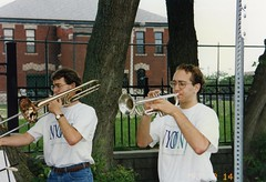 1993 trombone and trumpet player outside (NYO Canada) Tags: tour 1993 orchestra archives strings winds brass alumni nyo nyoc