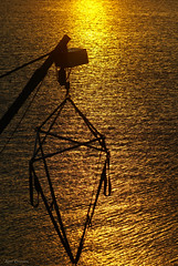 Gold & Geometry (Curtski22) Tags: sea water silhouette norway sunrise golden norge crane geometry shore tnsberg vestfold waterripples jarls boatcrane curtski22