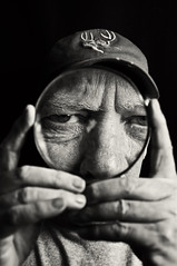 (tiffanydpierce) Tags: old portrait white black detail glass up close elderly wrinkles magnifying