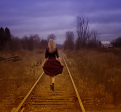 Follow your heart (Patty Maher) Tags: november woman selfportrait farmhouse dress walk journey railroadtracks hcs dressfromvaluevillage imbecomingaddictedtothriftshopping