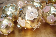 Christmas Ornaments (such pretty things) Tags: christmas pink flowers blue glass gold shiny pretty mercury crafts balls velvet ornaments decorating romantic ideas embellished rhinestones millinery shabby bruite
