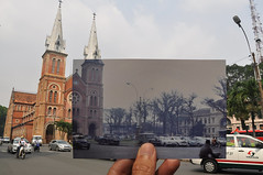 Si Gn, nm 1969 & nay (Khnh Hmoong) Tags: street 1969 church architecture office post vietnam saigon oldpicture thennow lookingintothepast nikond90 xavanay