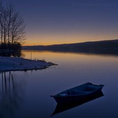 La barque  *ON EXPLORE* (photofabulation) Tags: blue sunset lake water colors night landscape switzerland eau suisse pentax couleurs bleu paysage crpuscule nuit coucherdesoleil barque k5 vaud lacdejoux labbaye