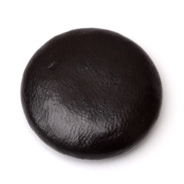 Very large vintage black leather button 38mm
