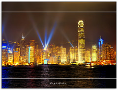 Searching the Heavens (fotografdude) Tags: water ferry night buildings reflections boats hongkong lights nikon neon harbour victoria lasershow searchlights citiscape d90 mygearandme fotografdude