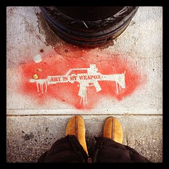 From where I stand, artismyweapon (astrodub) Tags: red streetart square stencil gun boots nobody weapon squareformat hefe nobodycares fromwhereistand tmnk artismyweapon iphoneography instagramapp uploaded:by=instagram astrodub foursquare:venue=4eee8f66a69d8afe6c4b94c4