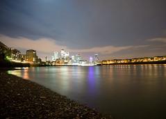 Instant gratification! (Riverman___) Tags: color london thames night river nikon voigtlander pebbles stalkers shore reach 20mm canarywharf limehouse f35 d700 slii