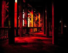 Red corner (subterraneancarsickblues) Tags: city red england urban night canon town nocturnal footbridge efs1855mm gateshead tyneside afterdark tyneandwear eos550d rebelt2i kissx4digital