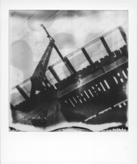 Something Not There. (artwpn) Tags: philadelphia polaroid sx70 blackwhite outdoor traintracks trains oldbuildings instant westphilly universitycity landcamera instantphotography oldshit px100 impossibleproject theimpossibleproject