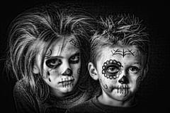 Brothers in drama (jessica.tucker77) Tags: light portrait blackandwhite halloween boys children fun play sad edited clown emo goth son drama lowkey mime ragdoll backlighting sidelighting homestudio