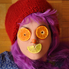 Orange ya glad? (Fld) Tags: portrait food woman colour face fruit hair lemon flood wig carrot mauve 365 oranges wh raspberryberet floodie